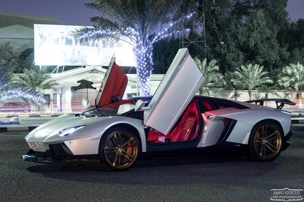 Matte Silver Lamborghini Aventador standing on gold PUR rims